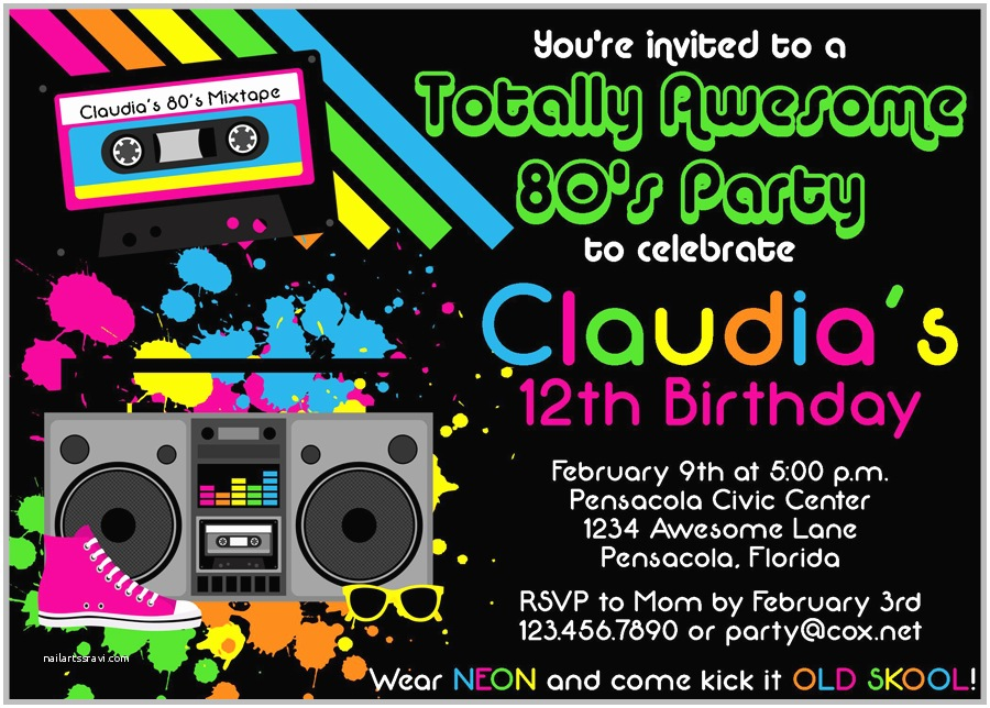 80s theme Party Invitations 80s Party Invitations