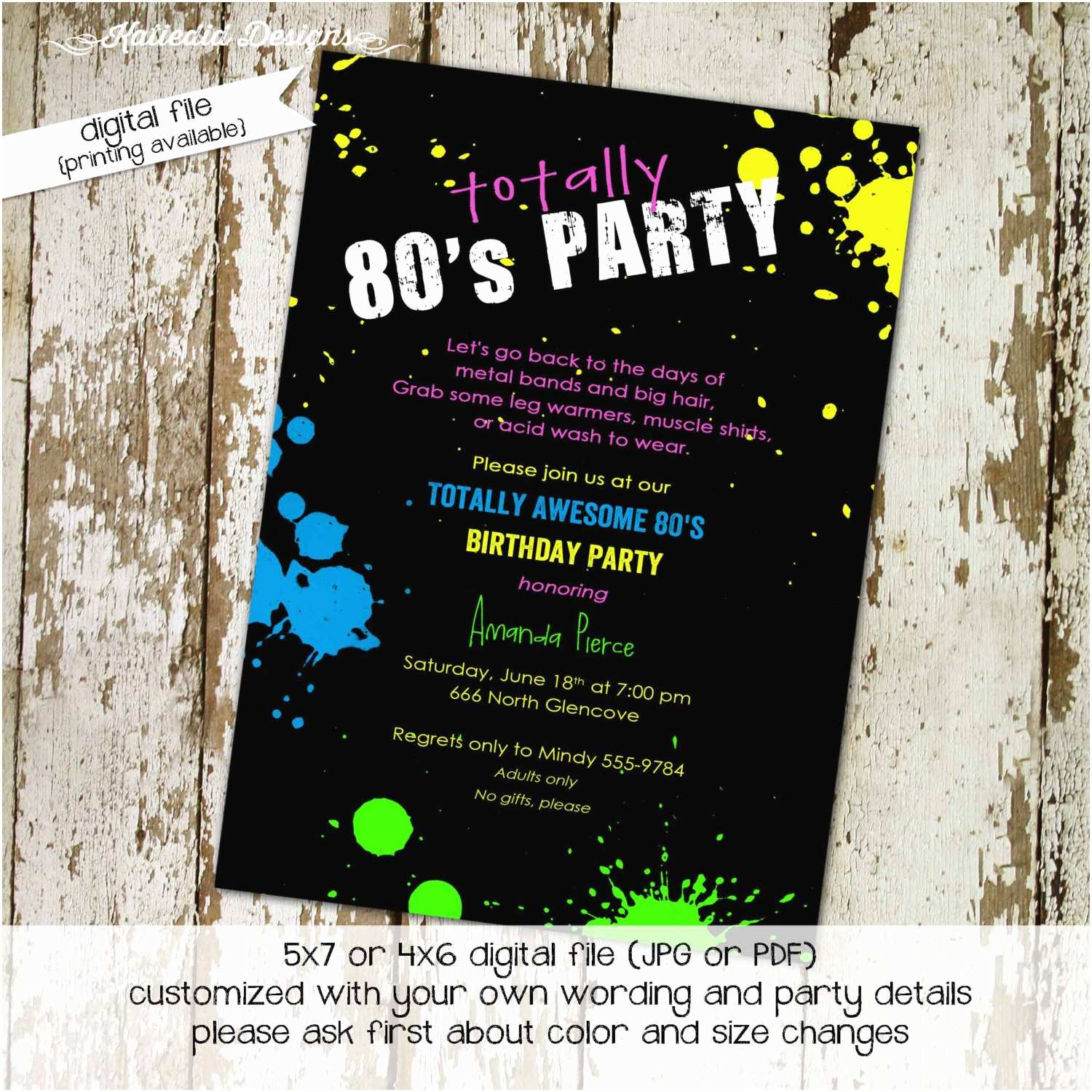 80s Theme Party Invitations Wording