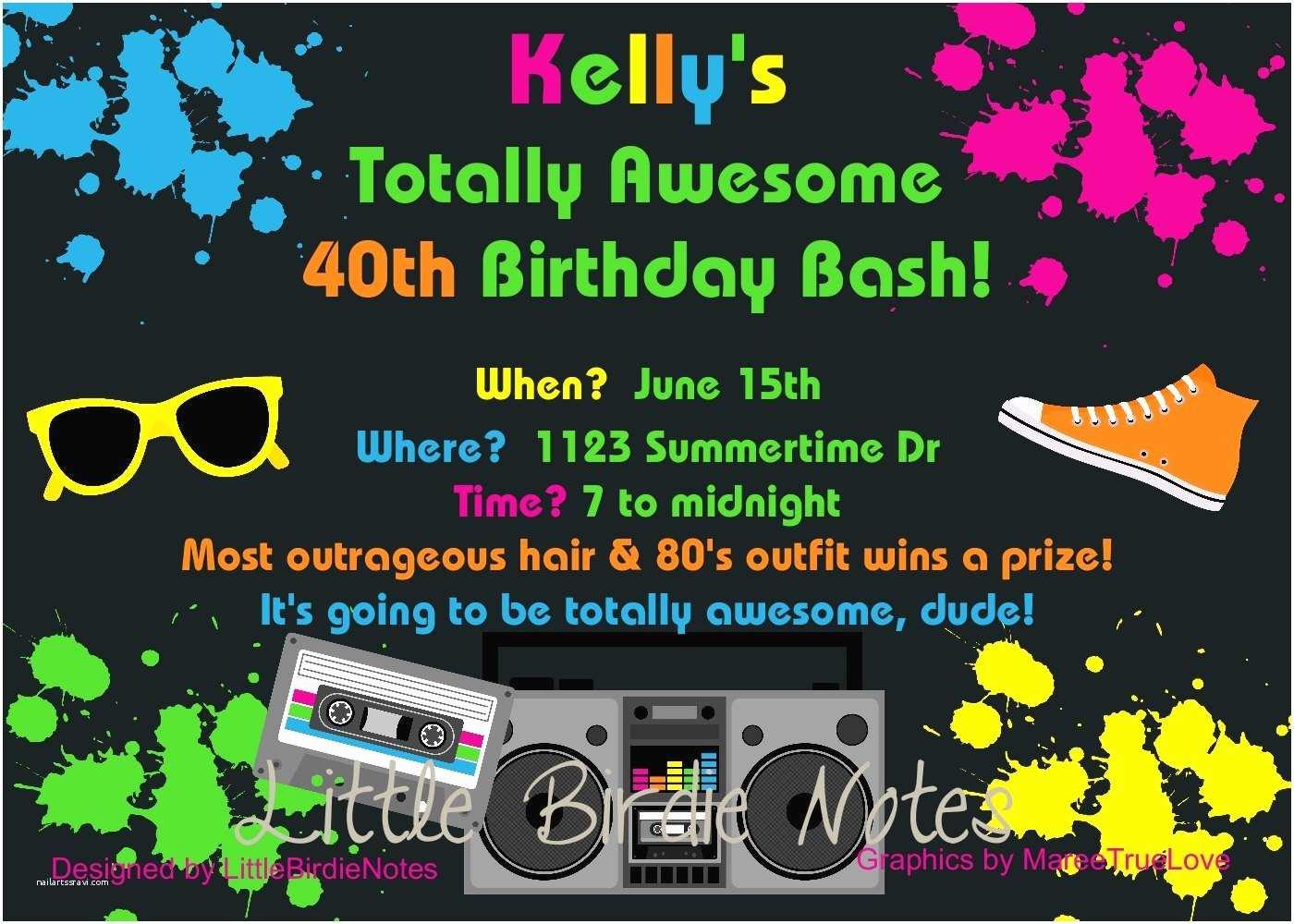 80s Theme Party Invitations Birthday