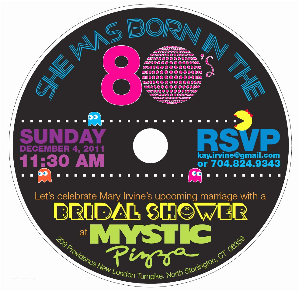 80s theme Party Invitations An '80s Bridal Shower