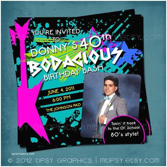 80s theme Party Invitations Bodacious Birthday Bash totally Awesome 80s Party Invite
