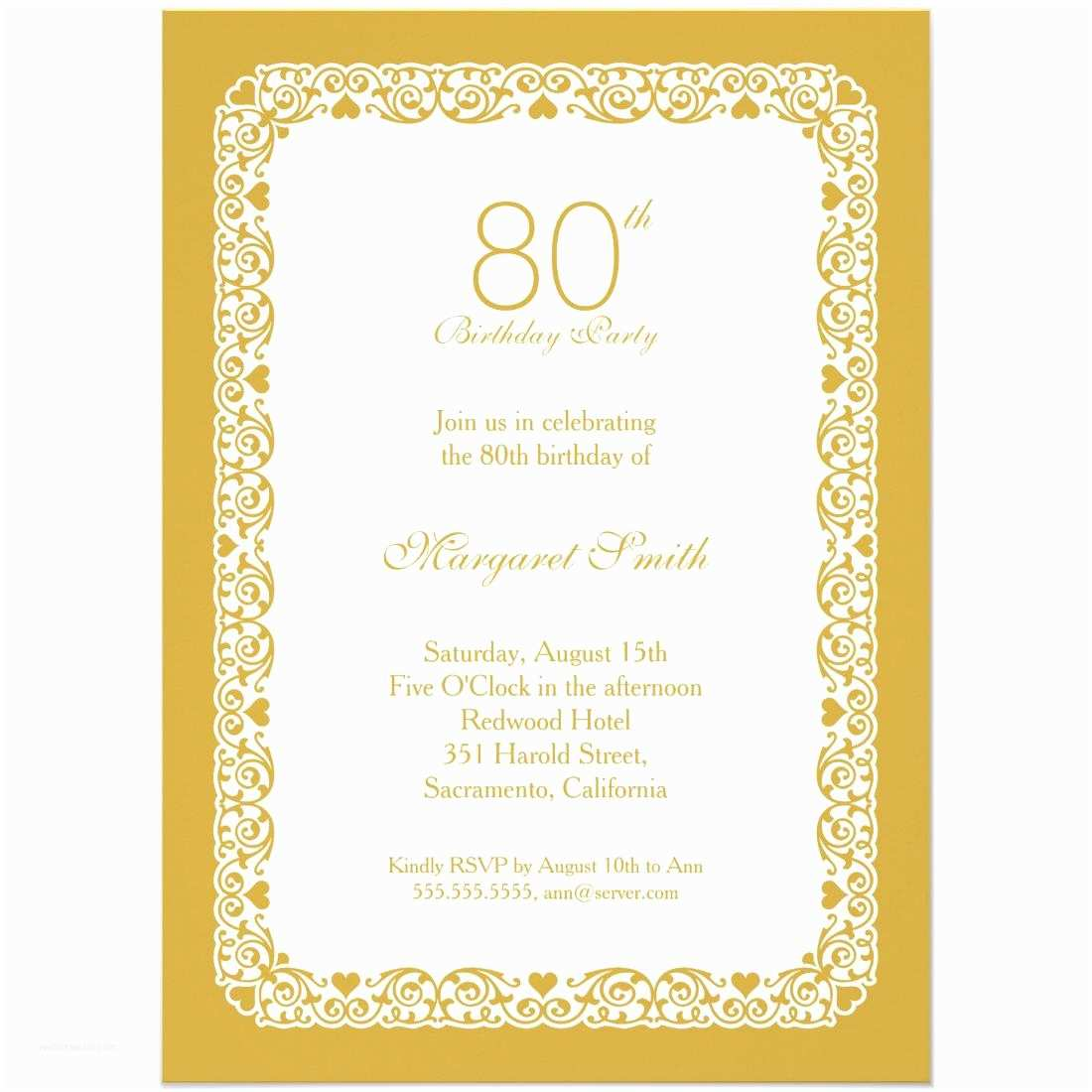 80th Birthday Invitation 15 Sample 80th Birthday Invitations Templates Ideas