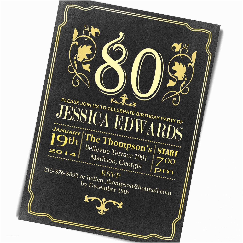 80th Birthday Invitation 80th Birthday Invitations 80th Birthday Invitations for