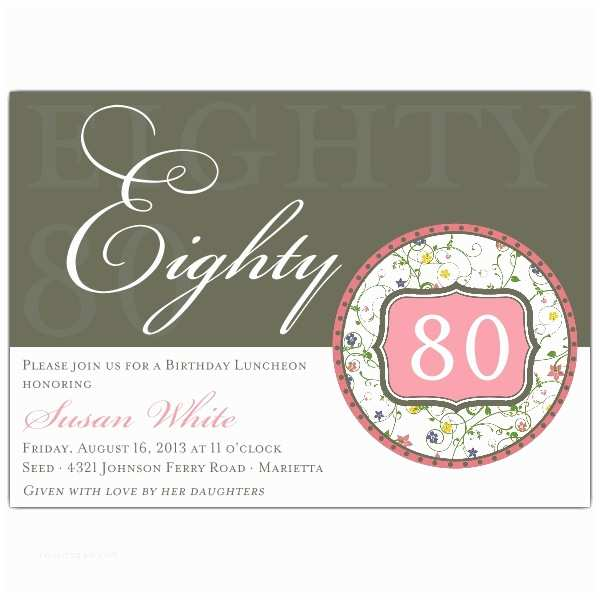 80th Birthday Invitation Flirty Floral 80th Birthday Invitations