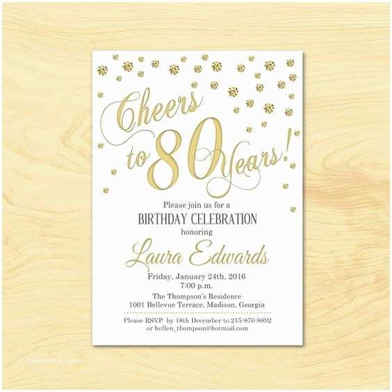 80th Birthday Invitations 80th Birthday Invitation Any Age Gold White Invite