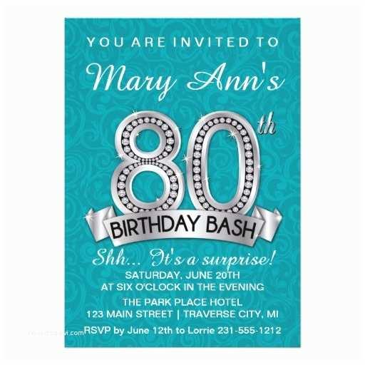80th Birthday Invitations 80th Birthday Invitation Diamond Milestone Invite