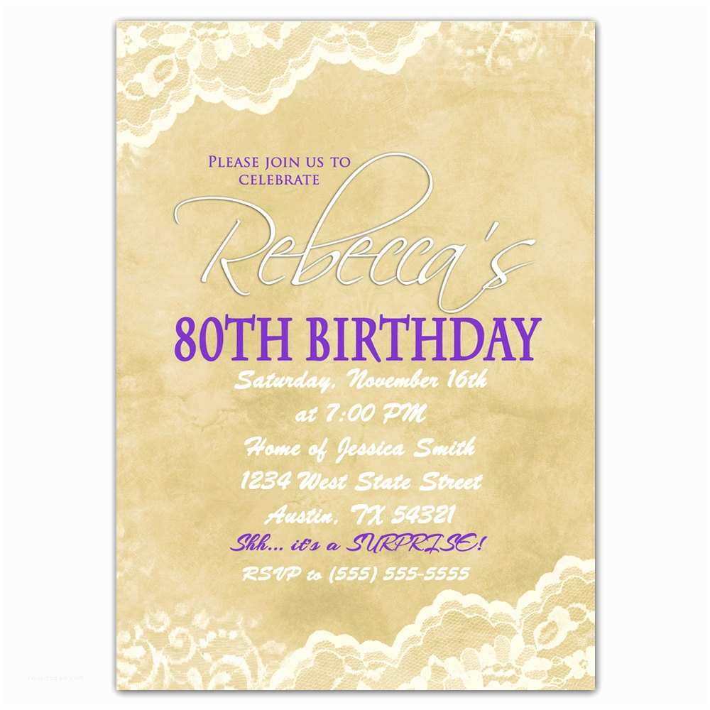 80th Birthday Invitations 80th Birthday Invitation Surprise Party Invite by