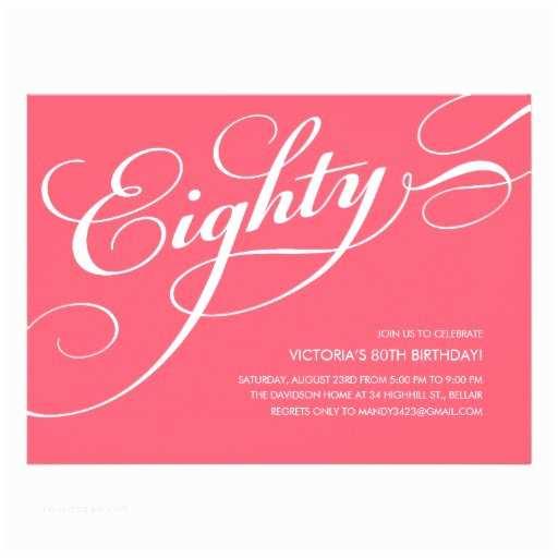 "80th Birthday Invitations Hot Pink Elegant 80th Birthday Invitations 5 5"" X 7 5"