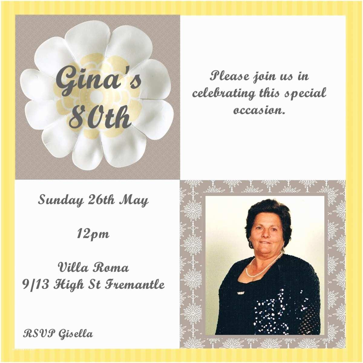 80th Birthday Invitations Nonna 80th Birthday Invitations
