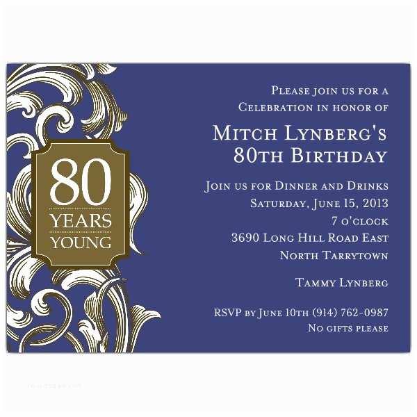 80th Birthday Party Invitations 80th Birthday Border Scroll Navy Invitations