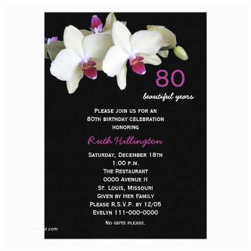 "80th Birthday Party Invitations 80th Birthday Party Invitation orchids 5"" X 7"