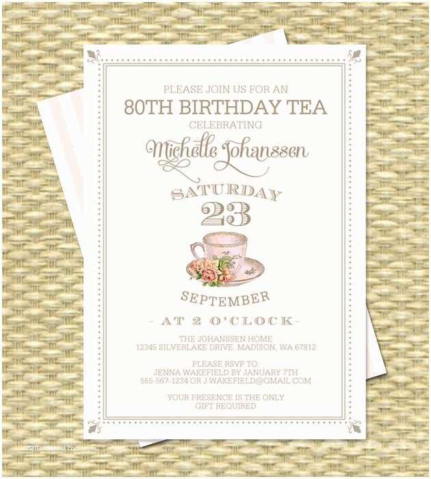 80th Birthday Party Invitations 80th Birthday Tea Party Invitation Adult Milestone Birthday