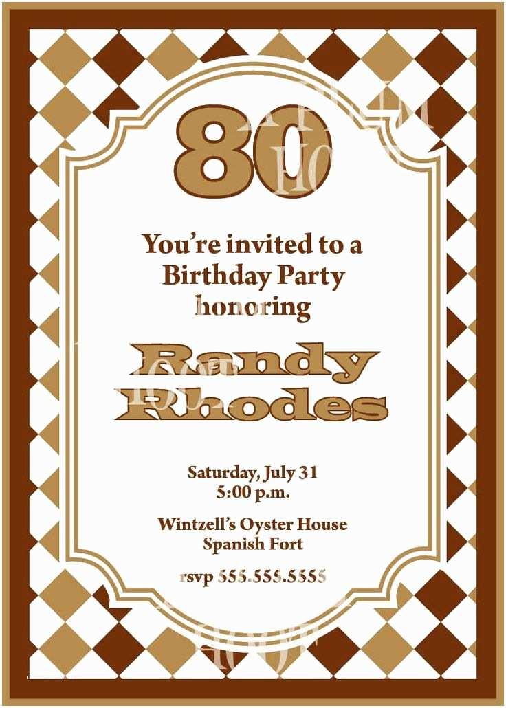 80th Birthday Party Invitations Free Printable 80th Birthday Party Invitations