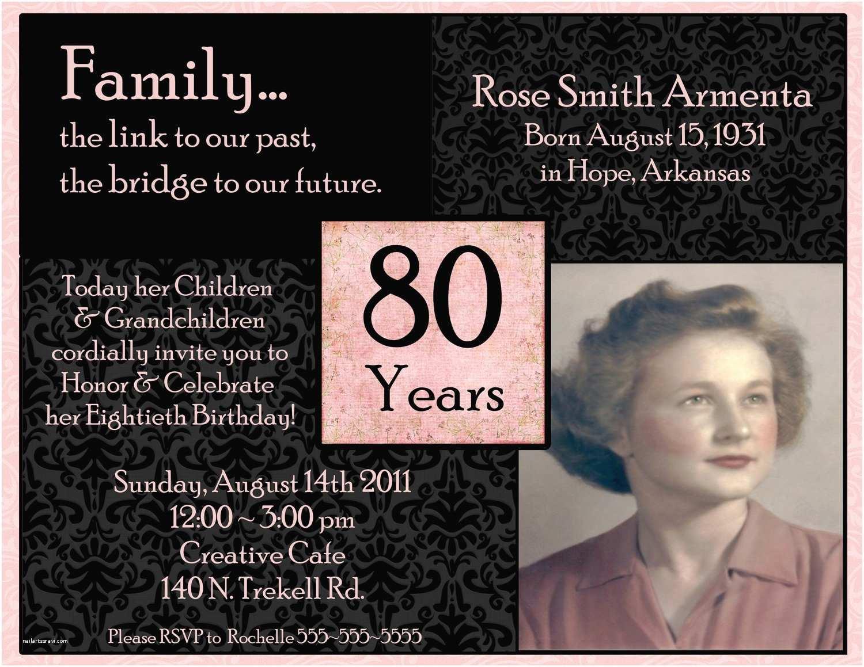 80th Birthday Party Invitations Invitations On Pinterest