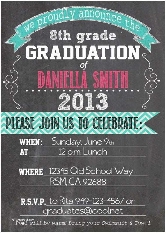 8th Grade Graduation Invitations Personalized Graduation Printable Invitation