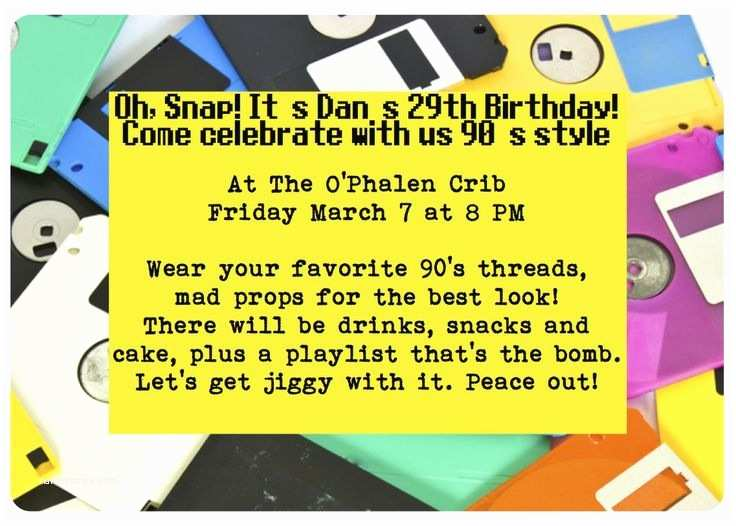 90s Party Invitation 90 S Party Invite Throwback theme Pinterest