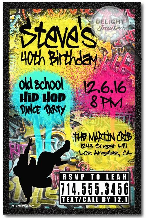 90s Party Invitation Template 90s Hip Hop Graffiti Birthday Invitations