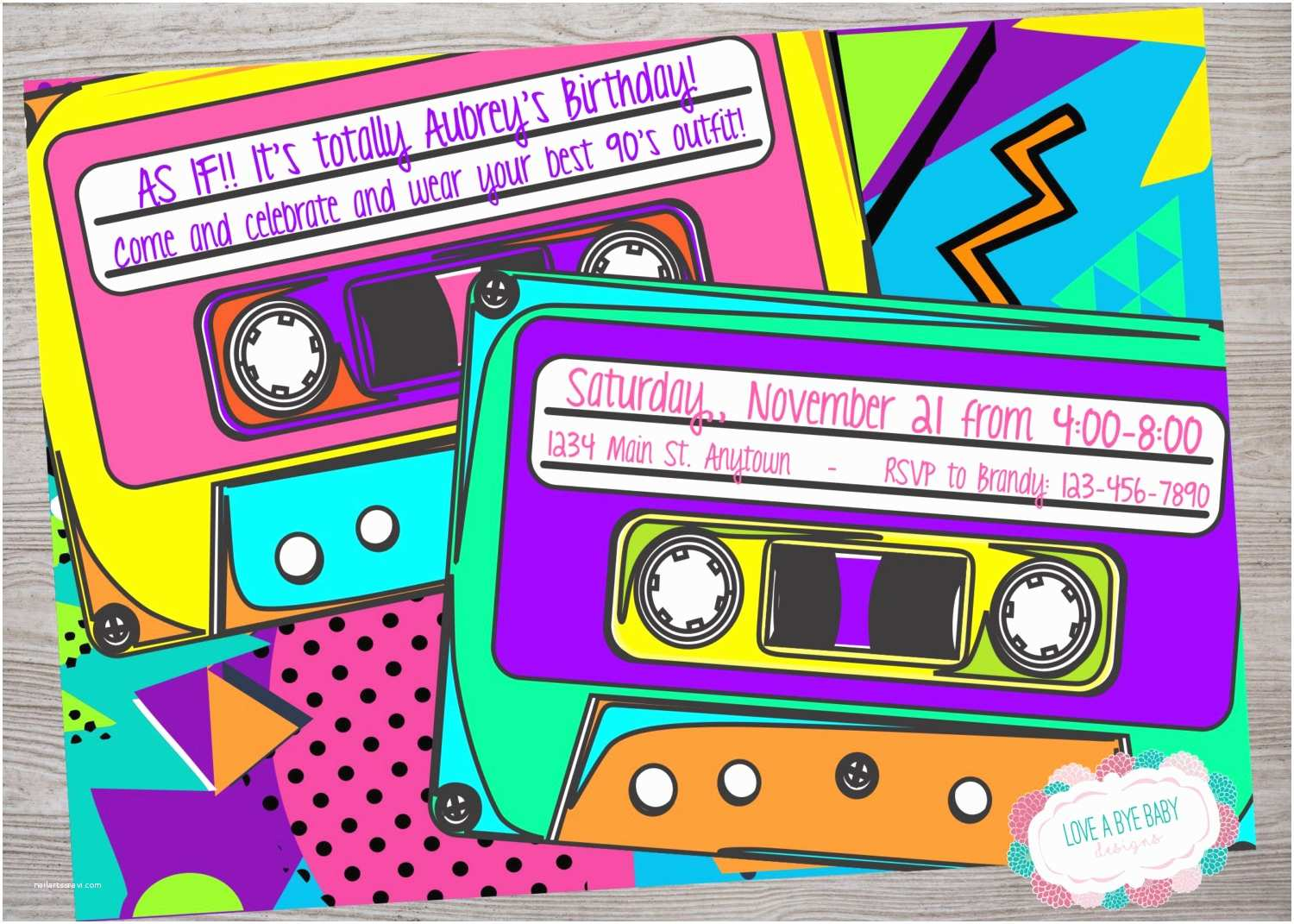 90s Party Invitation Template 90s or 80s theme Birthday Baby Shower Party Invitation