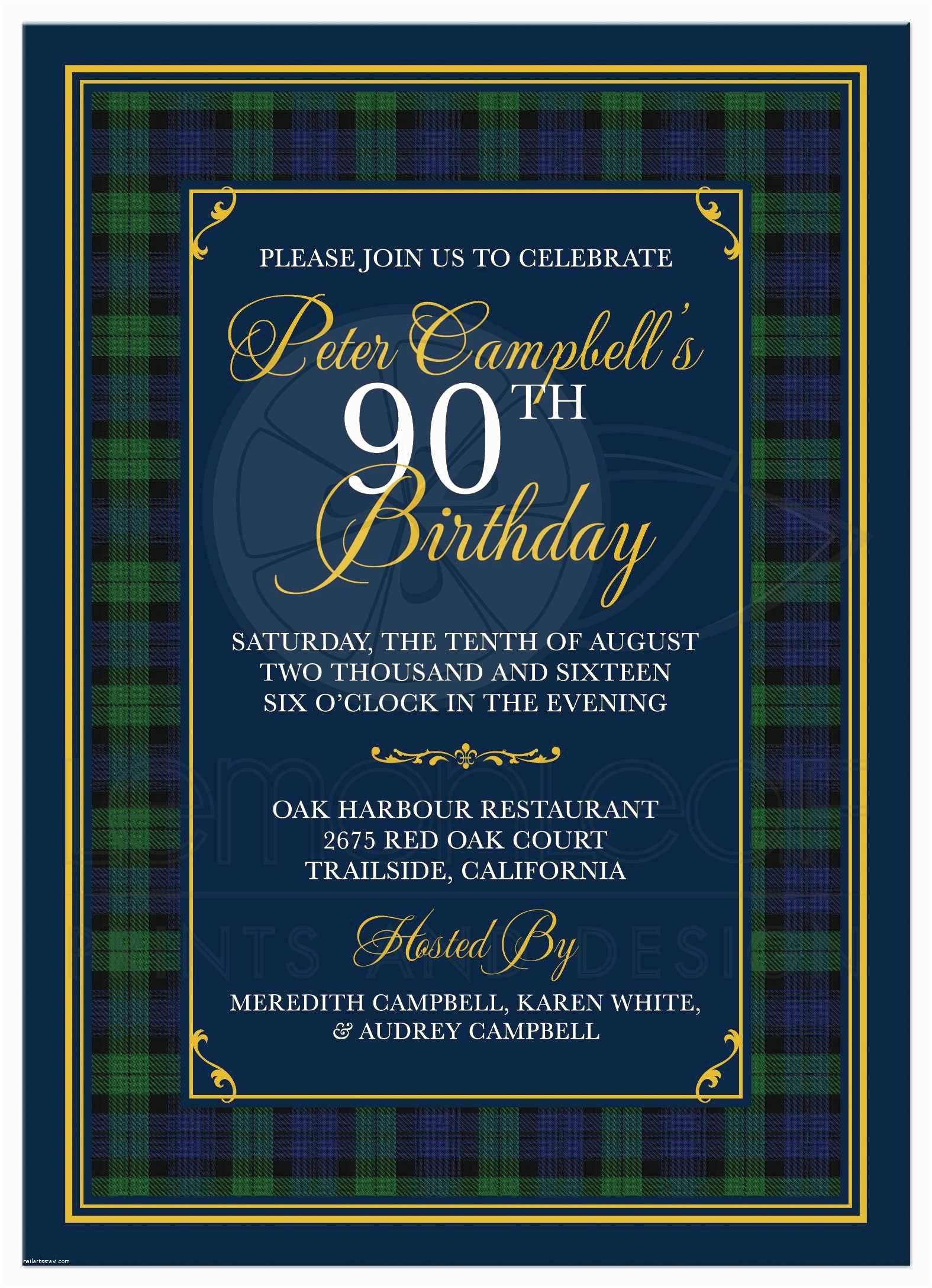 90s Party Invitation Template 90th Birthday Free
