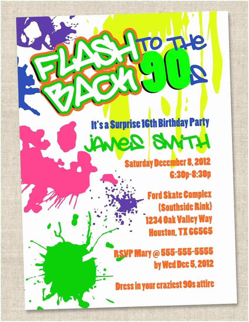 90s Party Invitation Template Graffiti Birthday Invitations Neon Party Invitation