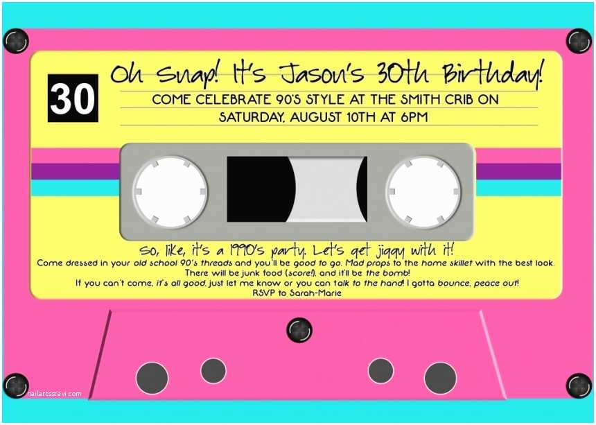 90s Party Invitation Template How to Plan A 90s Party Food Games and Decor Ideas