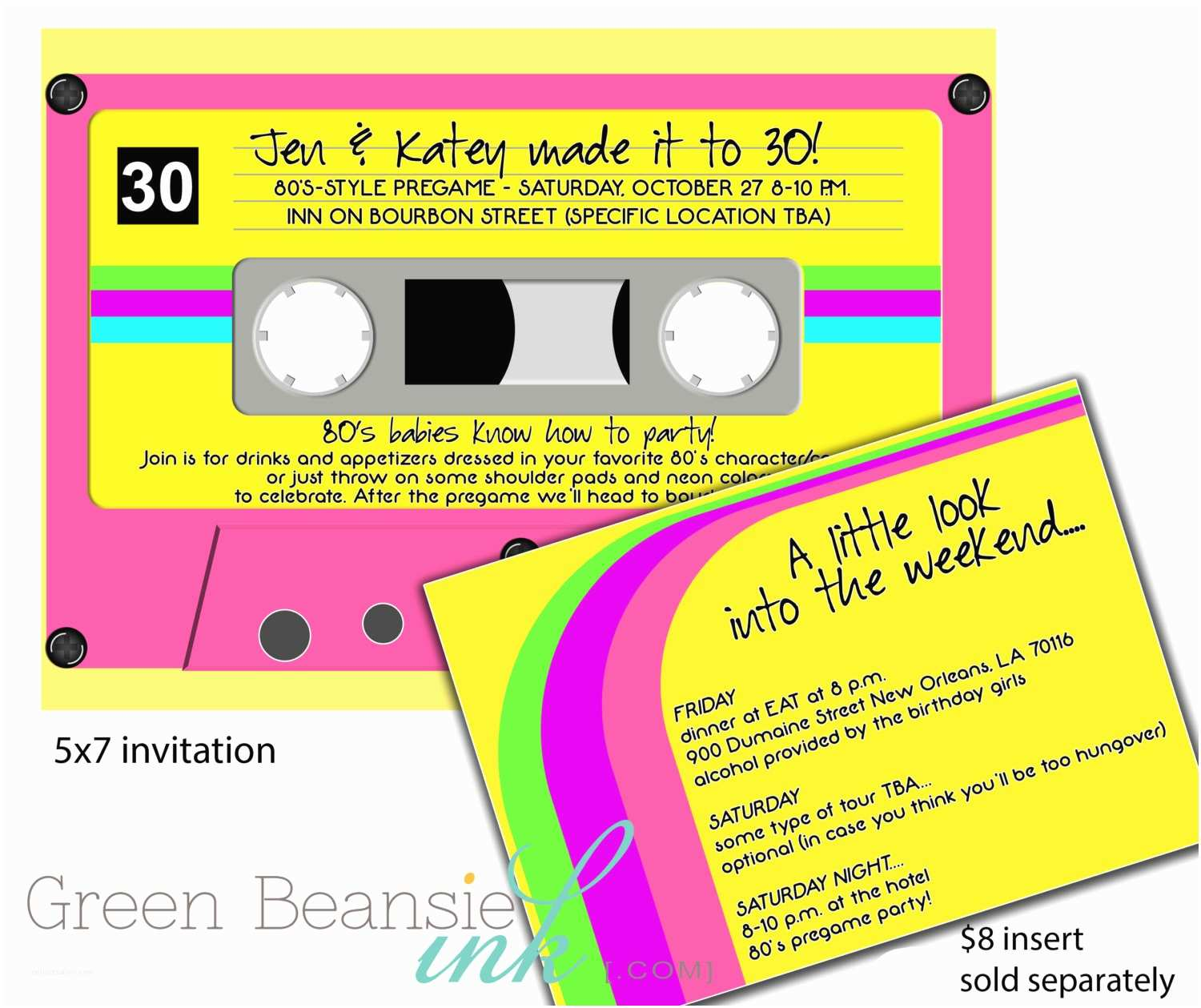 90s theme Party Invitations 80 S or 90 S Cassette Tape Printable Party Invitation