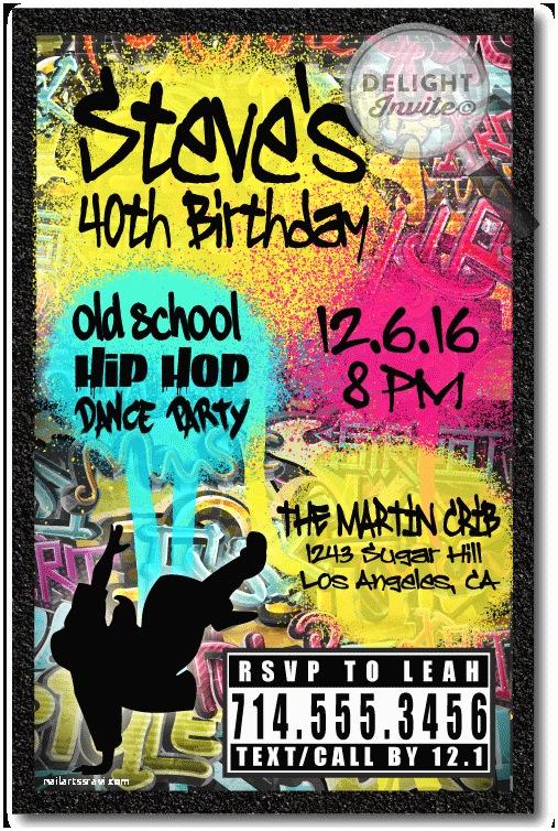 90s theme Party Invitations 90s Hip Hop Graffiti Birthday Invitations [di 464