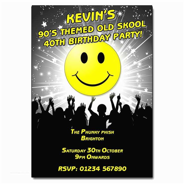 90s theme Party Invitations 90s Old Skool Party Invitation