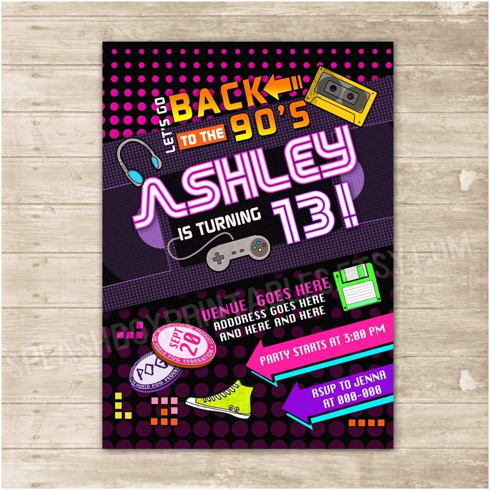 back to the 90s invitation nineties party invite flashback throwback birthd