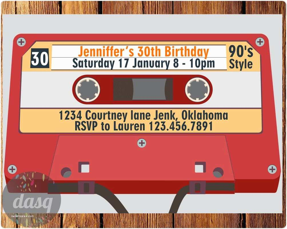 90s theme Party Invitations Cassette Invitation Invitation Printable 90s theme Party