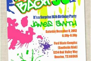 90s theme Party Invitations Graffiti Birthday Invitations