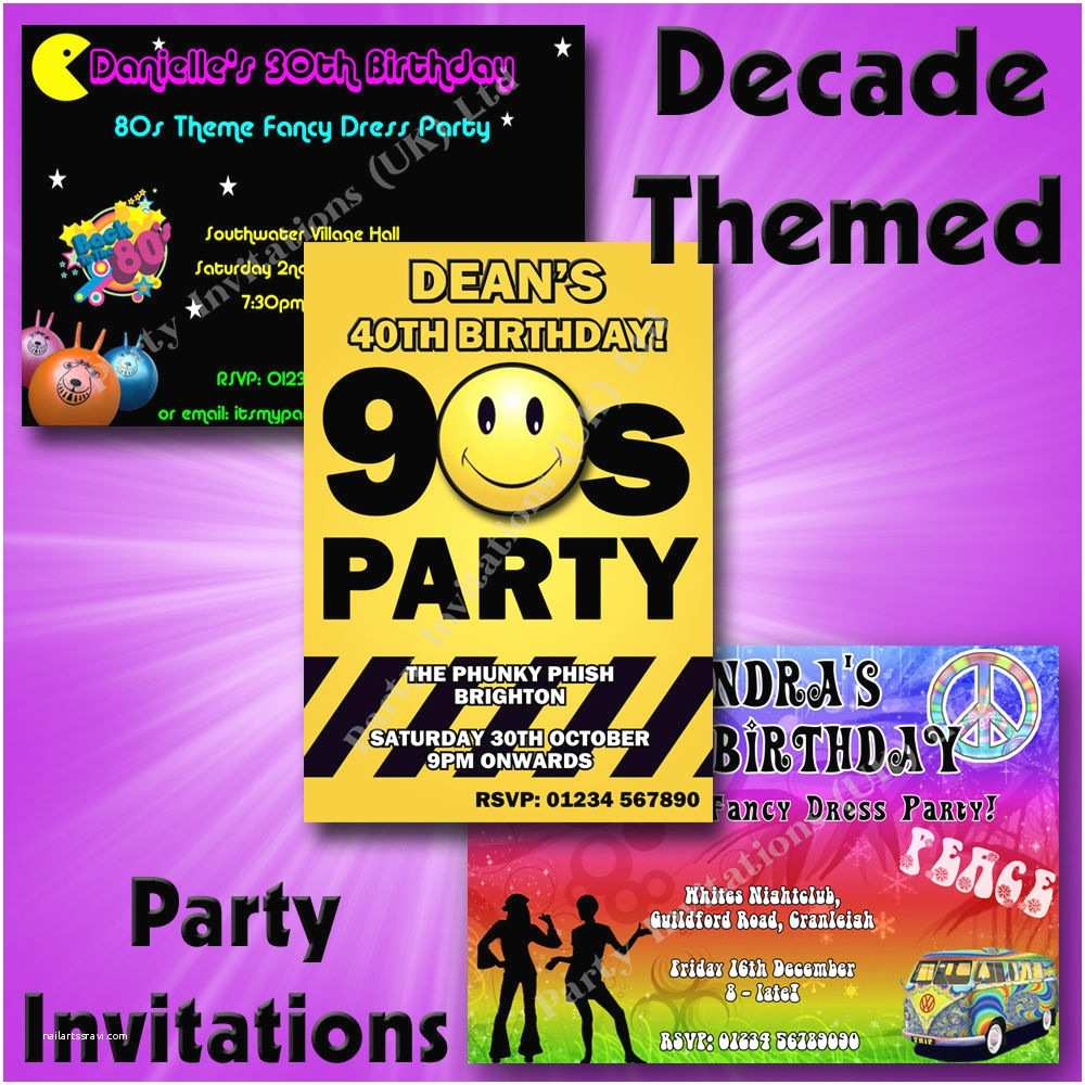 90s theme Party Invitations Personalised Decade themed Birthday Hen Party Invitations
