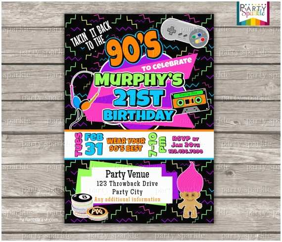 90s theme Party Invitations 90 S Party 90 S themed 21st