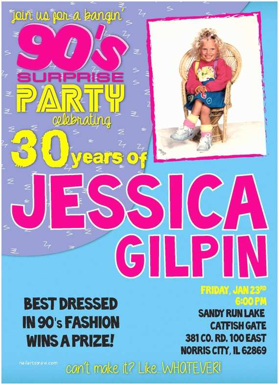 90s theme Party Invitations Ultimate 90s Party Invitation Digital File You Print at Home