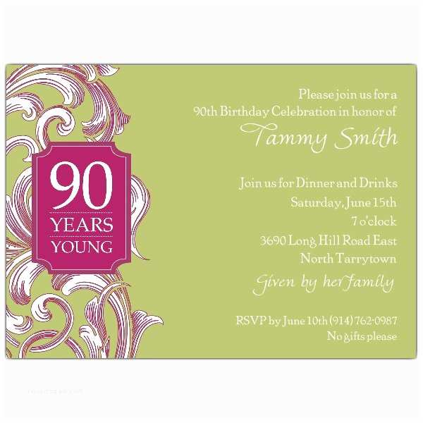 90th Birthday Invitations 90th Birthday Border Scroll Moss Invitations