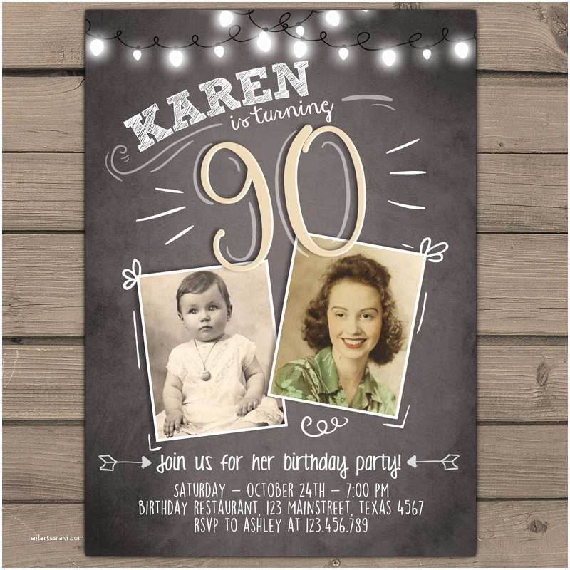 90th birthday invitation vintage