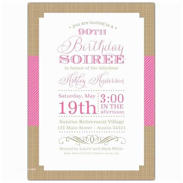 90th Birthday Invitations Nashville Pink 90th Birthday Invitations