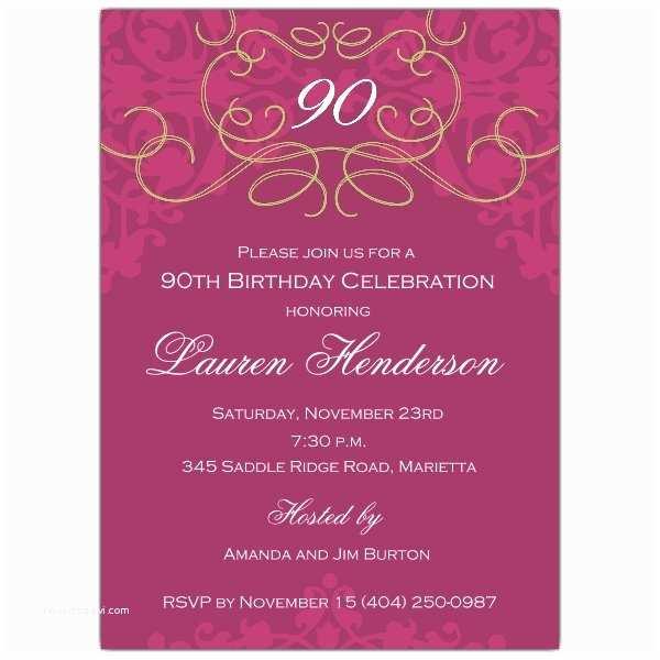 90th Birthday Party Invitations 90th Birthday Fleur Plum Invitations