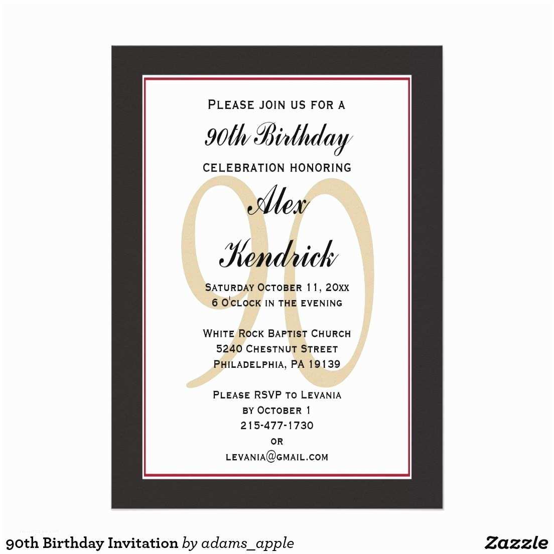90th Birthday Party Invitations 90th Birthday Invitation