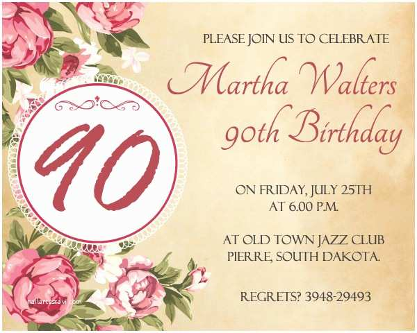 90th Birthday Party Invitations Invitation Wording 365greetings