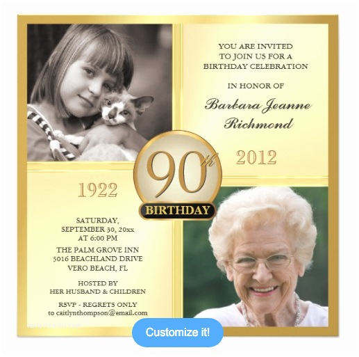 90th Birthday Party Invitations And Invitation Wording