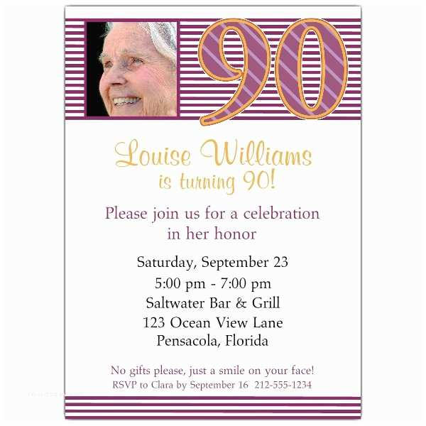 90th Birthday Party Invitations Pink Stripes
