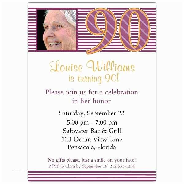90th Birthday Party Invitations 90th Birthday Pink Stripes Invitations