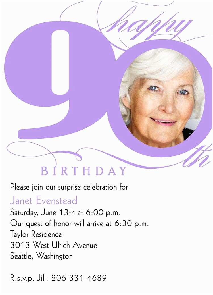 90th Birthday Party Invitations Milestone From