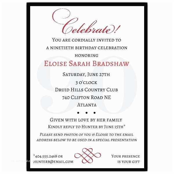 90th Birthday Party Invitations Classic 90th Birthday Invitations