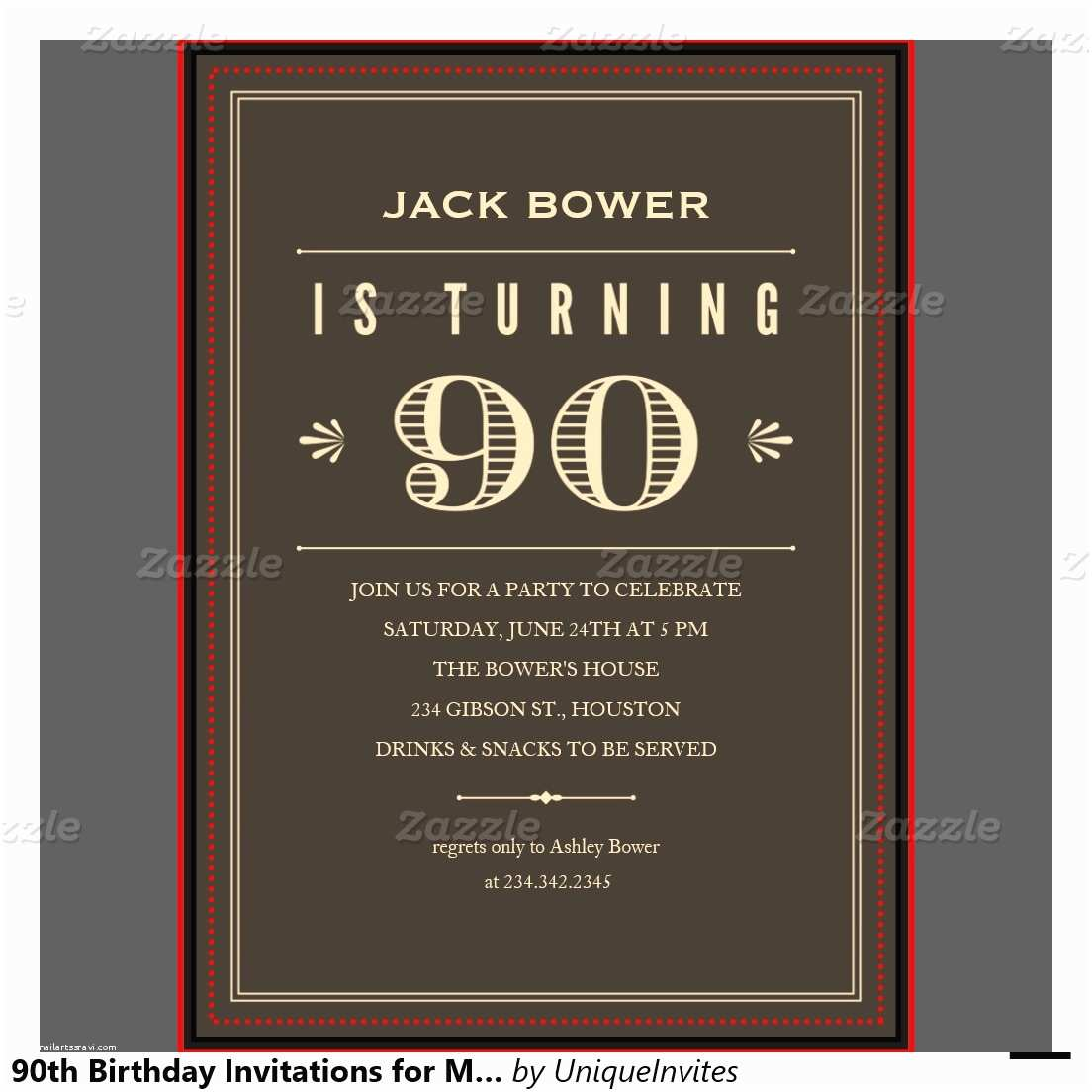 90th Birthday Party Invitations Free Printable