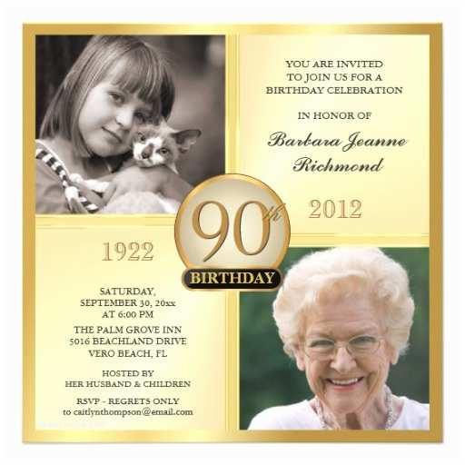 90th Birthday Party Invitations Gold Then Now 2 S