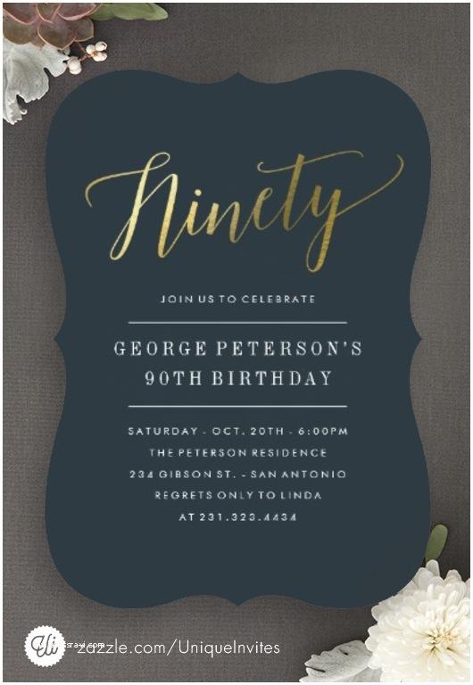 90th Birthday Party Invitations Modern 90th Birthday Invitations Faux Gold