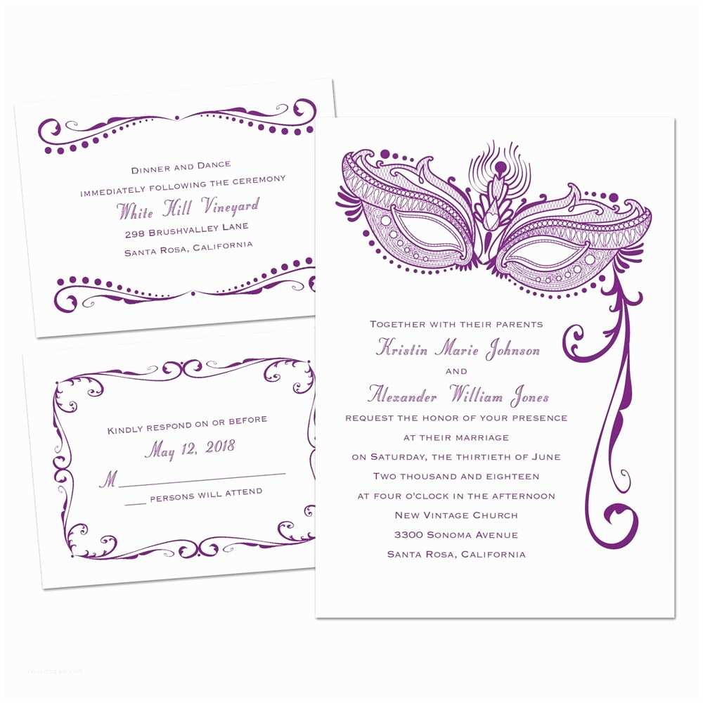 A Wedding Invitation Masked Mystique 3 for 1 Invitation