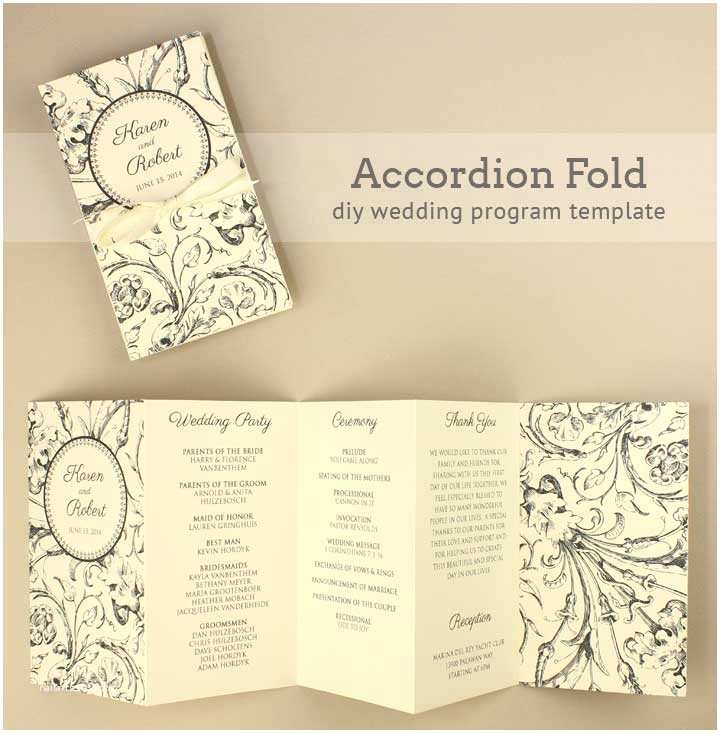 Accordion Wedding Invitations Accordian Fold Diy Wedding Program